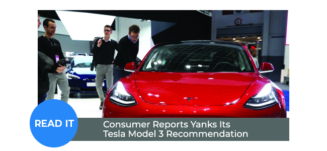 Consumer Reports Yanks Its Tesla Model 3 Recommendation